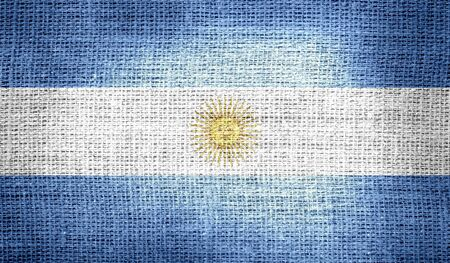 argentina flag: Argentina flag on burlap fabric