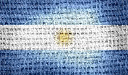 bandera argentina: Bandera de Argentina en tela de arpillera