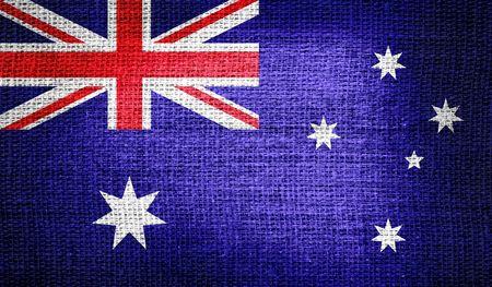 australia flag: Australia flag on burlap fabric