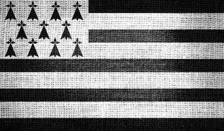 bretagne: Brittany flag on burlap fabric Stock Photo