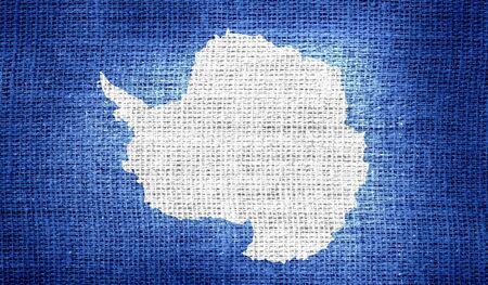 antarctica: Antarctica flag on burlap fabric