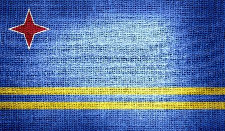 aruba flag: Aruba flag on burlap fabric