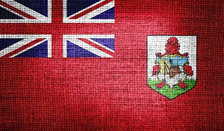 bermuda: Bermuda flag on burlap fabric