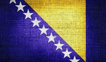 bosnia and herzegovina flag: Bosnia and Herzegovina flag on burlap fabric