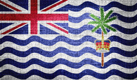 indian ocean: British Indian Ocean Territory flag on burlap fabric
