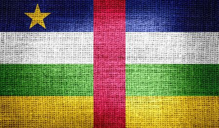 proportional: Central African Republic flag on burlap fabric Stock Photo