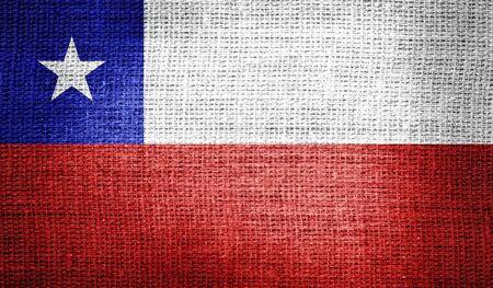 chile flag: Chile flag on burlap fabric