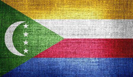 flagged: Comoros flag on burlap fabric Stock Photo