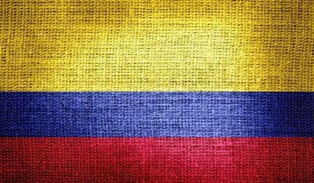 bandera de colombia: Bandera de Colombia en tela de arpillera