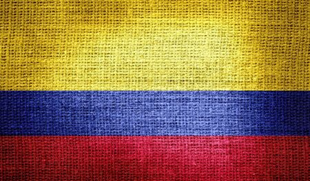 colombia flag: Colombia flag on burlap fabric