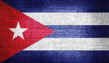 bandera cuba: Bandera de Cuba en tela de arpillera