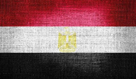 egypt flag: Egypt flag on burlap fabric Stock Photo