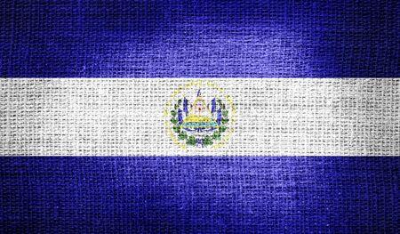 el salvador flag: El Salvador flag on burlap fabric