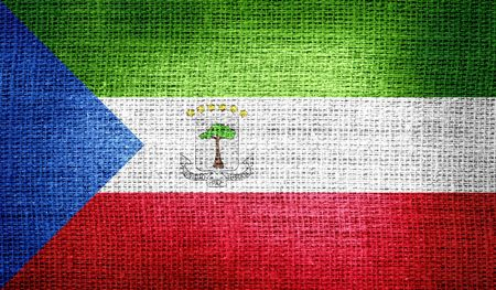 equatorial: Equatorial Guinea flag on burlap fabric