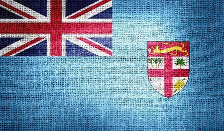 fiji: Fiji flag on burlap fabric