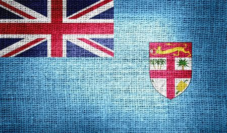 co lour: Fiji flag on burlap fabric
