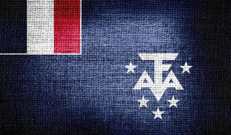 antarctic: French Southern and Antarctic Lands flag on burlap fabric