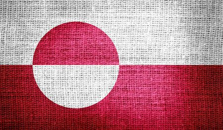 sackcloth: Greenland flag on burlap fabric Stock Photo