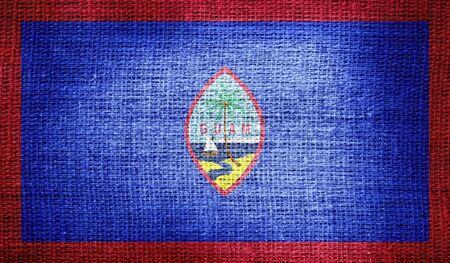 guam: Guam flag on burlap fabric