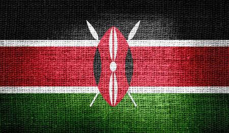 kenya: Kenya flag on burlap fabric