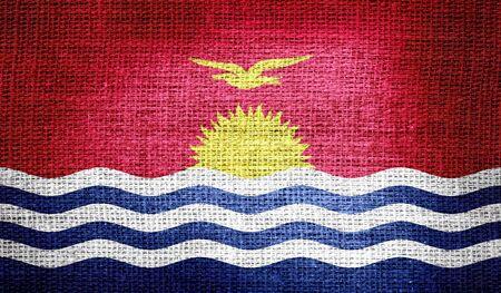 kiribati: Kiribati flag on burlap fabric