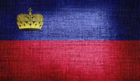 liechtenstein: Liechtenstein flag on burlap fabric