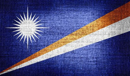 marshall: Marshall Islands flag on burlap fabric