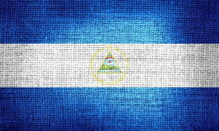 unitary: Nicaragua flag on burlap fabric