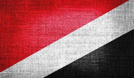 sealand: Sealand, Principality of National Flag on burlap fabric Stock Photo