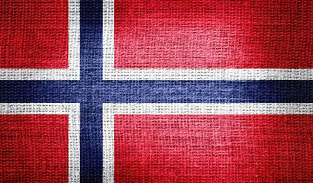 norway flag: Norway flag on burlap fabric