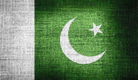 pakistan flag: Pakistan flag on burlap fabric