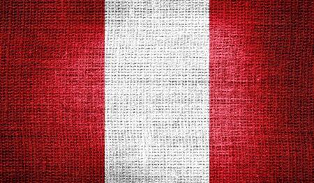 bandera de peru: Per� bandera en tela de arpillera