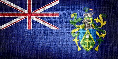 pitcairn: Pitcairn Islands flag on burlap fabric
