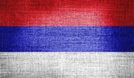 republika: Republika Srpska flag on burlap fabric