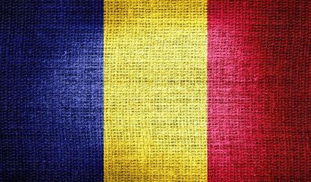 romania flag: Romania flag on burlap fabric