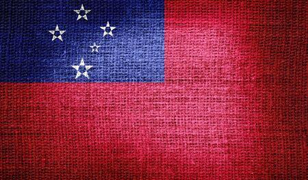 samoa: Samoa flag on burlap fabric