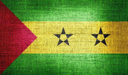 principe: Santo Tom� y Pr�ncipe bandera en tela de arpillera