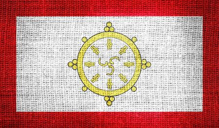 dependency: Flag of the monarchy of Sikkim from 1967 to 1975 on burlap fabric