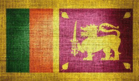 sri: Sri Lanka flag on burlap fabric