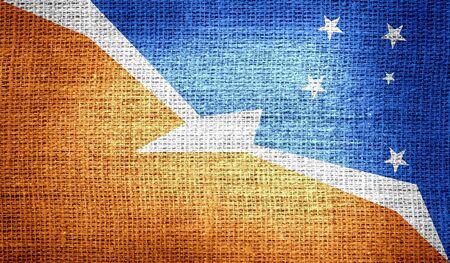 tierra: Tierra del Fuego Province - Argentina flag on burlap fabric Stock Photo
