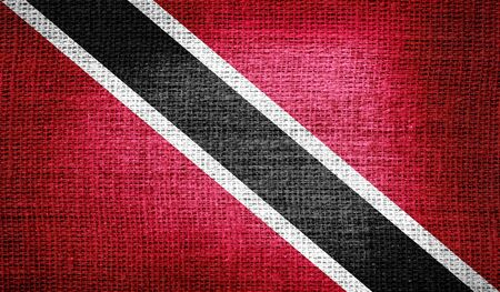 trinidadian: Trinidad and Tobago flag on burlap fabric