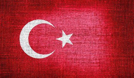 turkey flag: Turkey flag on burlap fabric Stock Photo