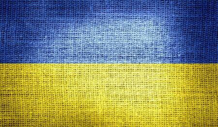 ukraine flag: Ukraine flag on burlap fabric