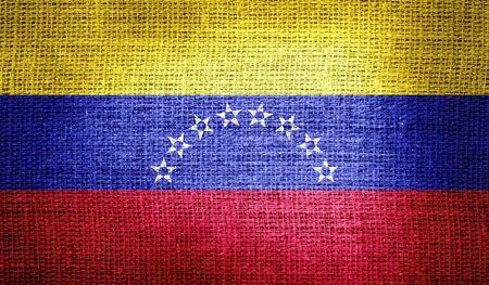 bandera de venezuela: Bandera de Venezuela en tela de arpillera