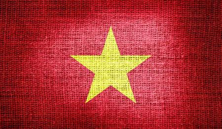 vietnam war: Vietnam flag on burlap fabric