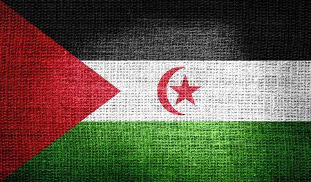 landlocked country: Western Sahara flag on burlap fabric