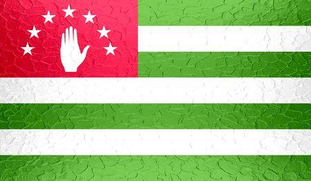 abkhazia: Abkhazia flag on metallic metal texture