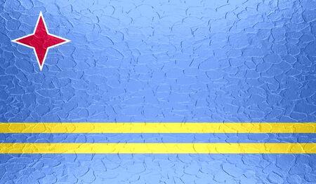 aruba flag: Aruba flag on metallic metal texture Stock Photo