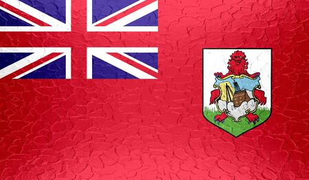 deteriorate: Bermuda flag on metallic metal texture