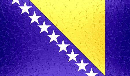 bosnia and herzegovina flag: Bosnia and Herzegovina flag on metallic metal texture
